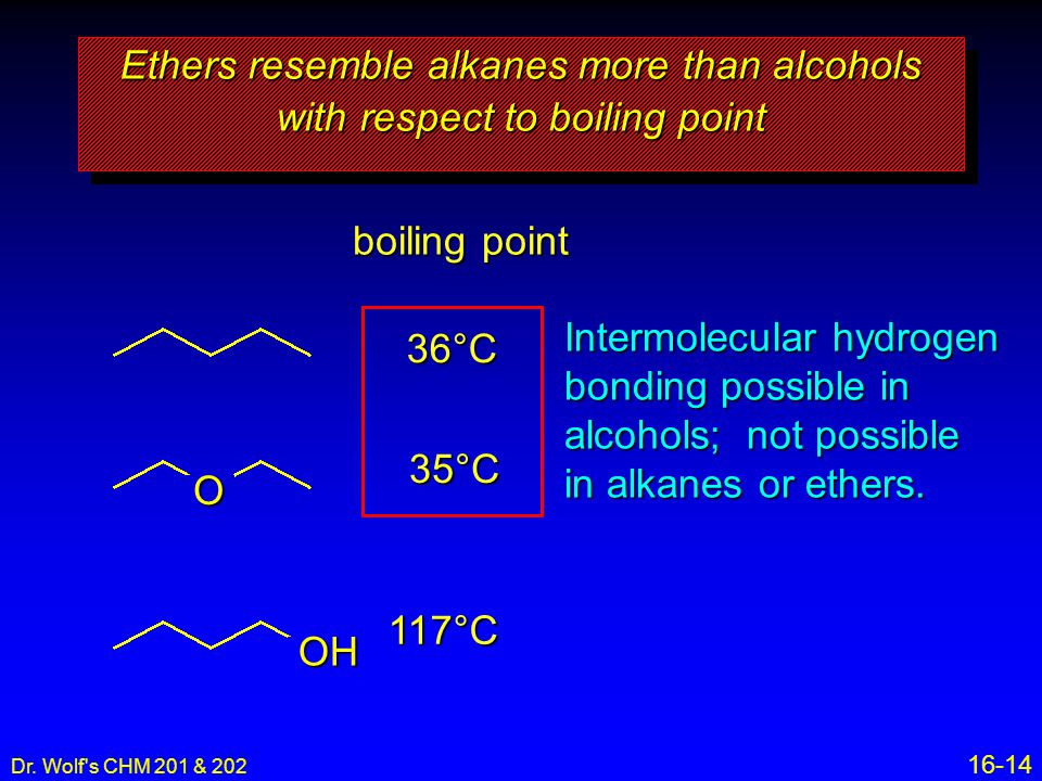 Ethers resemble alkanes more than alcohols with respect to boiling point