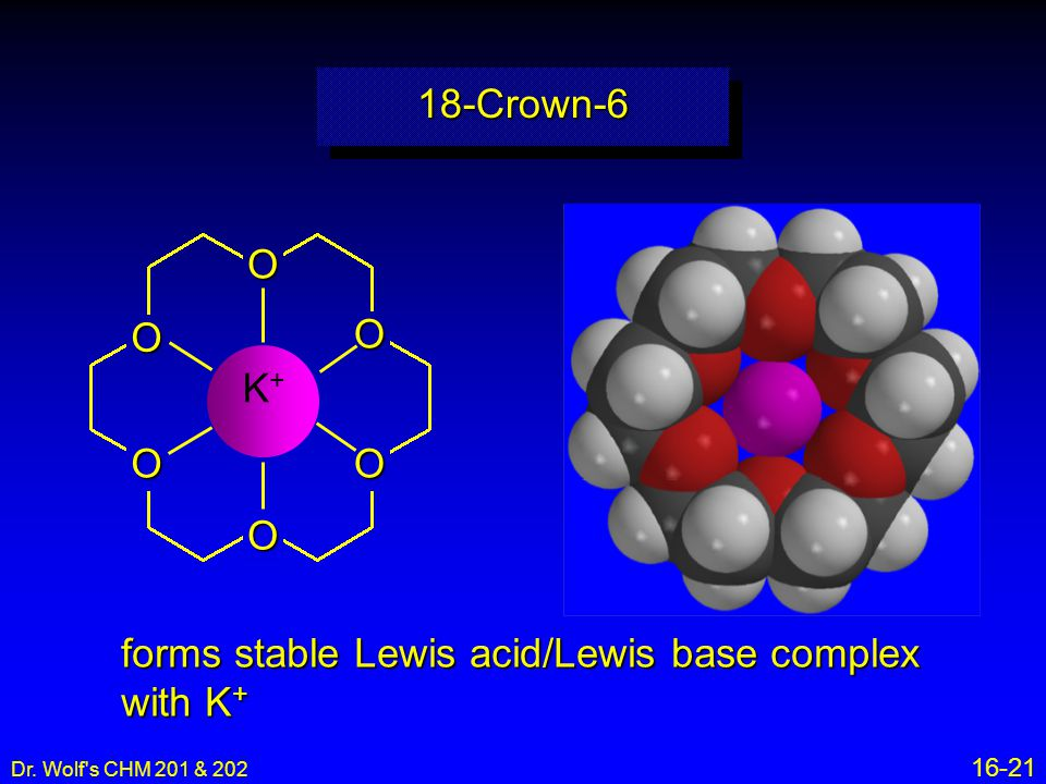 forms stable Lewis acid/Lewis base complex with K+