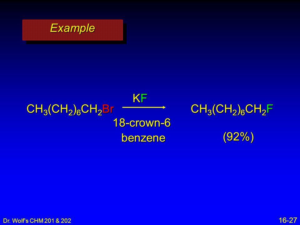 Example KF CH3(CH2)6CH2Br CH3(CH2)6CH2F 18-crown-6 benzene (92%) 16-27