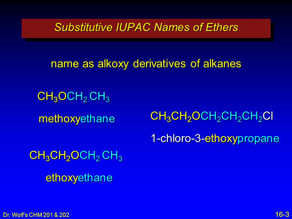 Substitutive IUPAC Names of Ethers