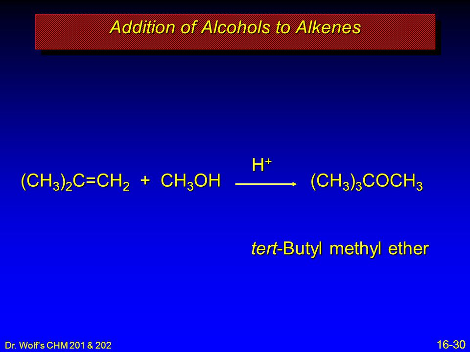 Addition of Alcohols to Alkenes