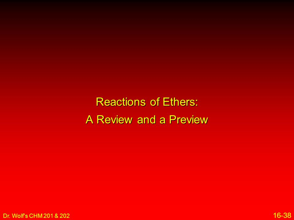 Reactions of Ethers: A Review and a Preview