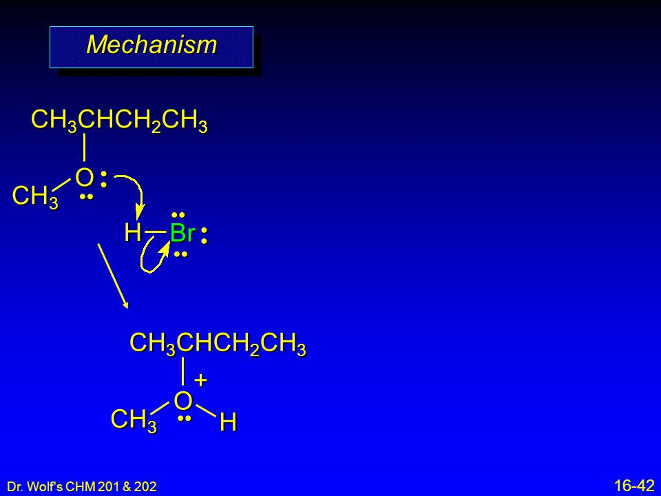 Mechanism CH3CHCH2CH3 O CH3 H Br CH3CHCH2CH3 O CH3 H + • • •• •• • •