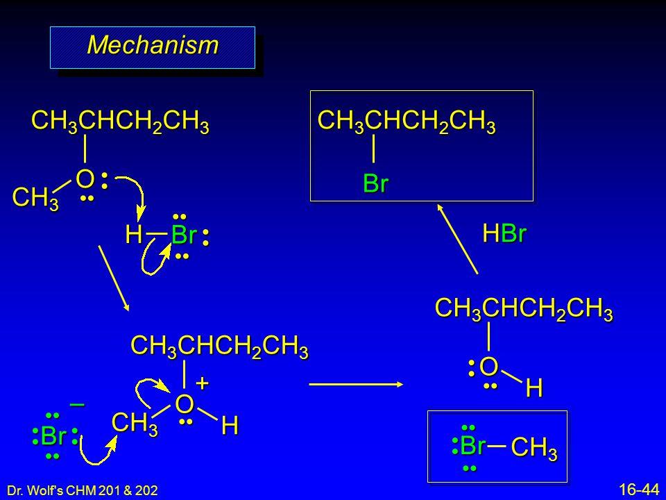 Mechanism CH3CHCH2CH3 O CH3CHCH2CH3 Br CH3 H Br HBr CH3CHCH2CH3 O H