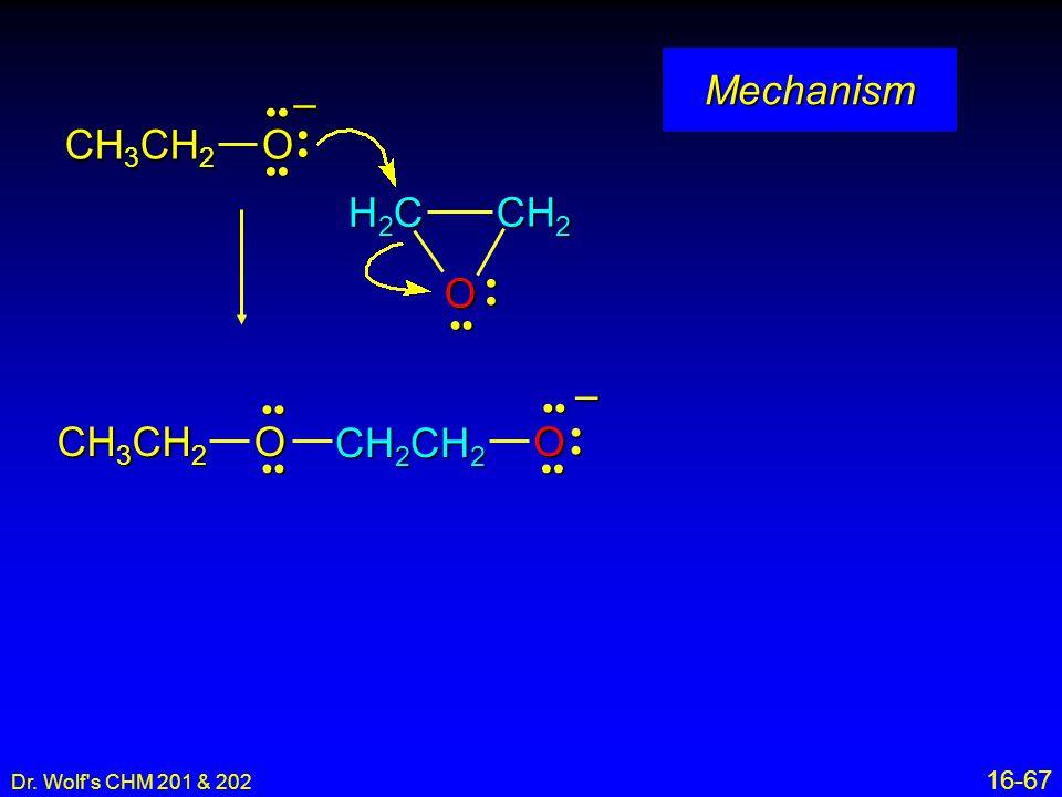 Mechanism CH3CH2 O – O H2C CH2 – CH3CH2 O CH2CH2 • • •• • • •• •• • •