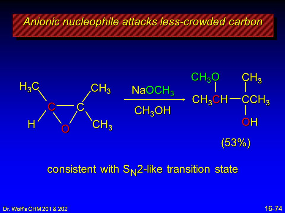 Anionic nucleophile attacks less-crowded carbon