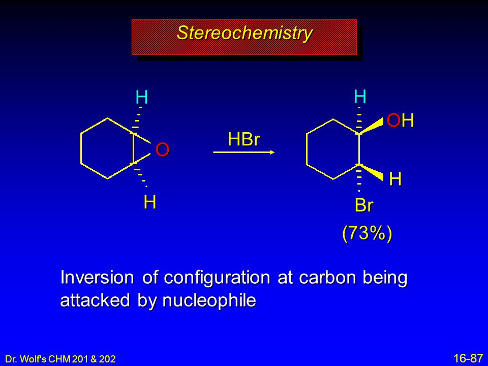 Inversion of configuration at carbon being attacked by nucleophile