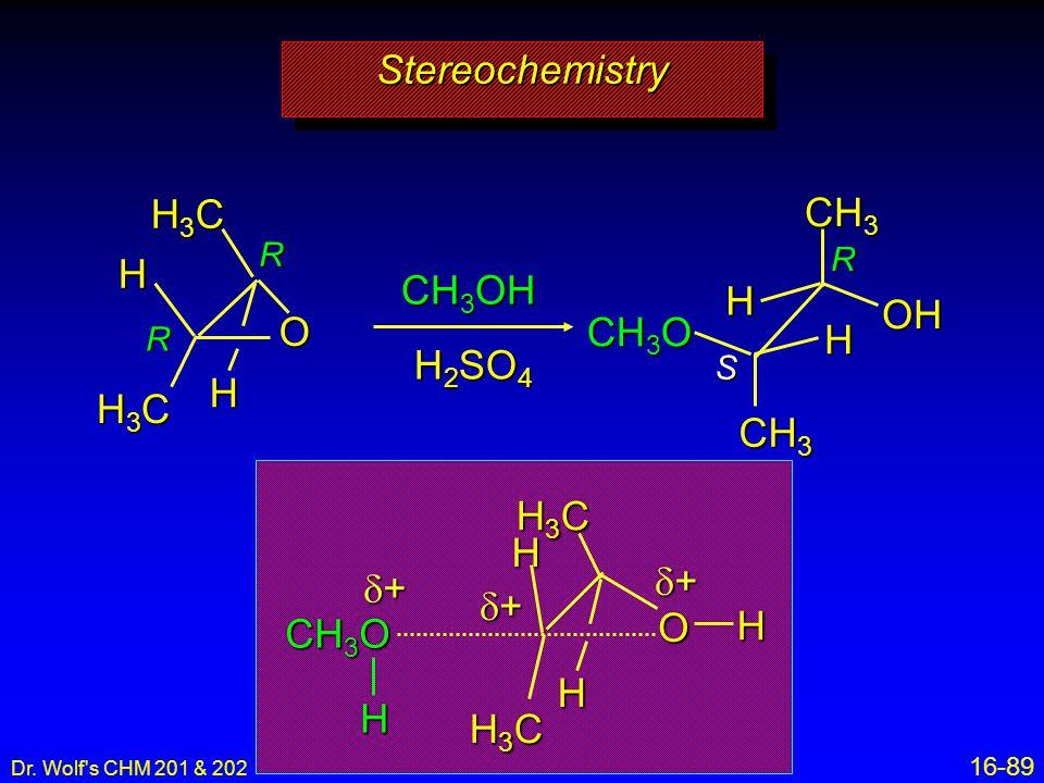 Stereochemistry H3C CH3 H CH3OH H OH O CH3O H H2SO4 H H3C CH3 H3C H d+