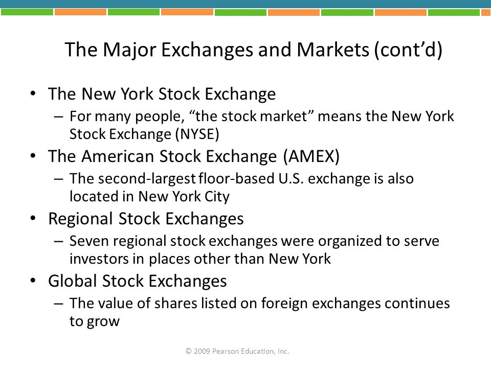 The Major Exchanges and Markets (cont'd)