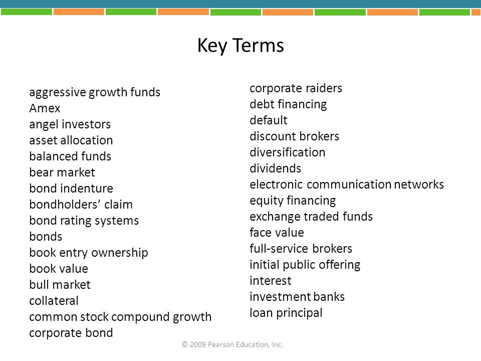 Key Terms corporate raiders aggressive growth funds debt financing