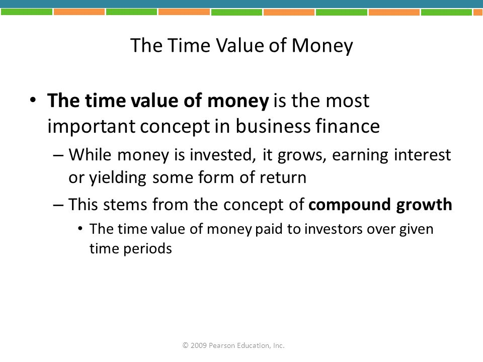 The Time Value of Money The time value of money is the most important concept in business finance.