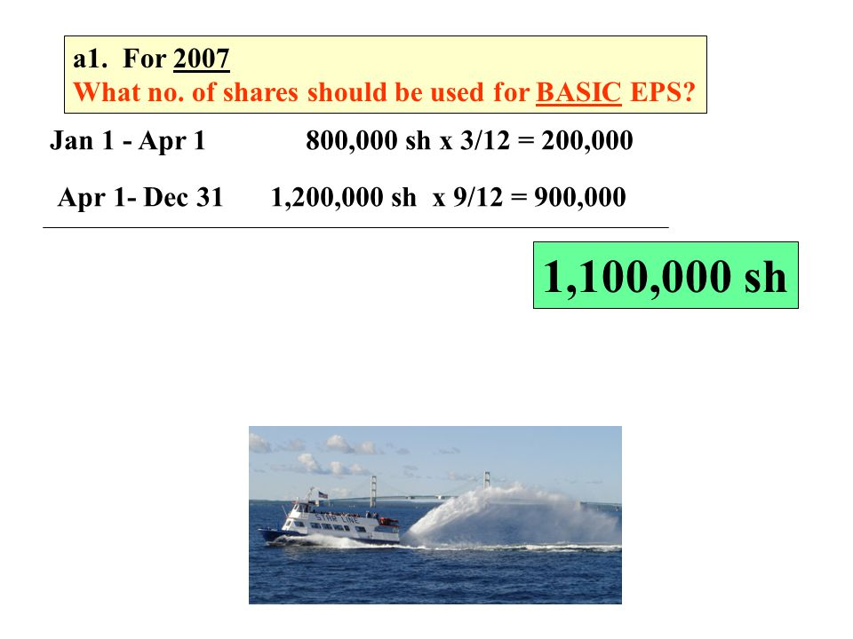 a1. For 2007 What no. of shares should be used for BASIC EPS Jan 1 - Apr 1 800,000 sh x 3/12 = 200,000.