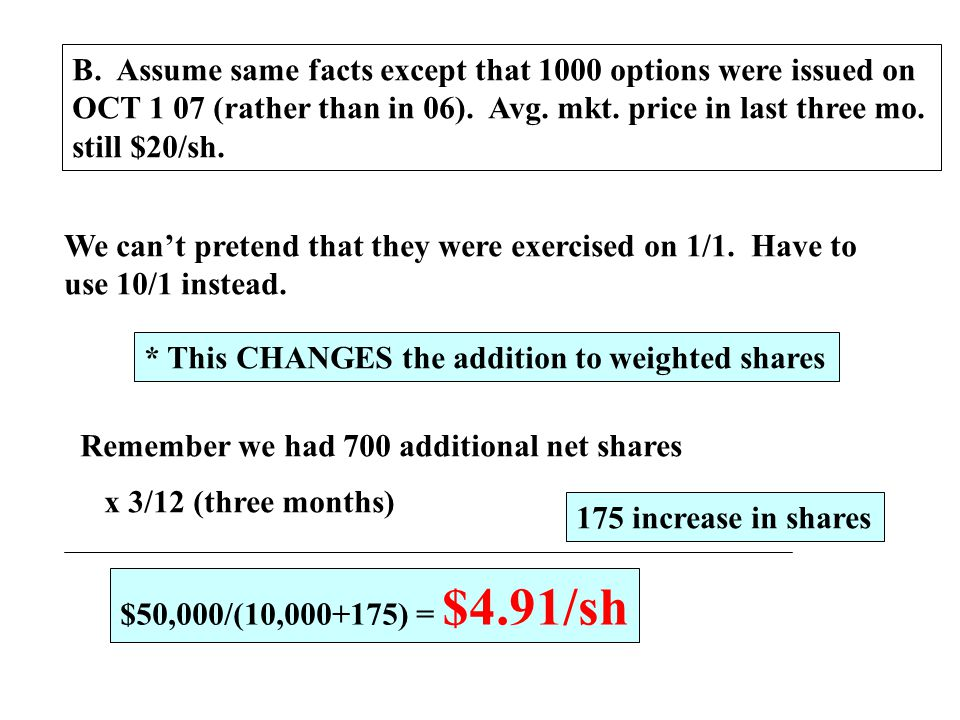 B. Assume same facts except that 1000 options were issued on