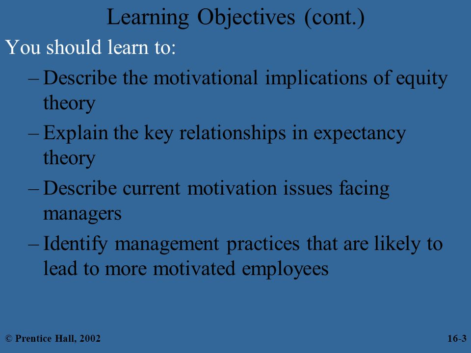 Learning Objectives (cont.)