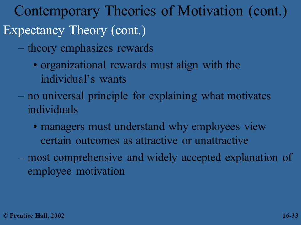 Contemporary Theories of Motivation (cont.)