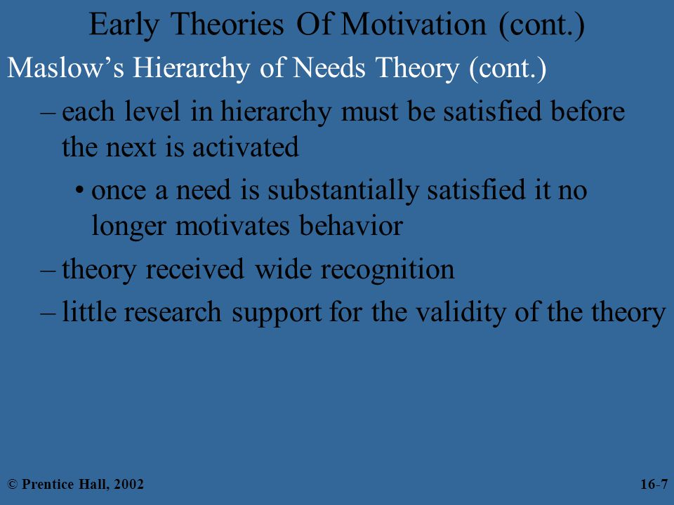 Early Theories Of Motivation (cont.)