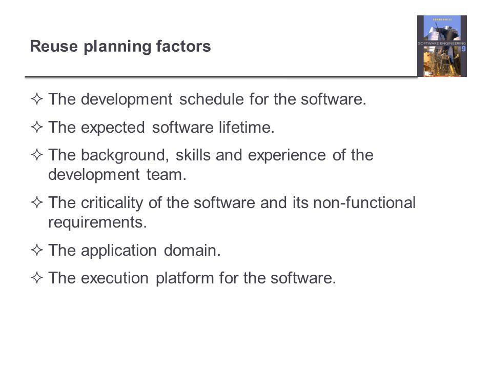 Reuse planning factors