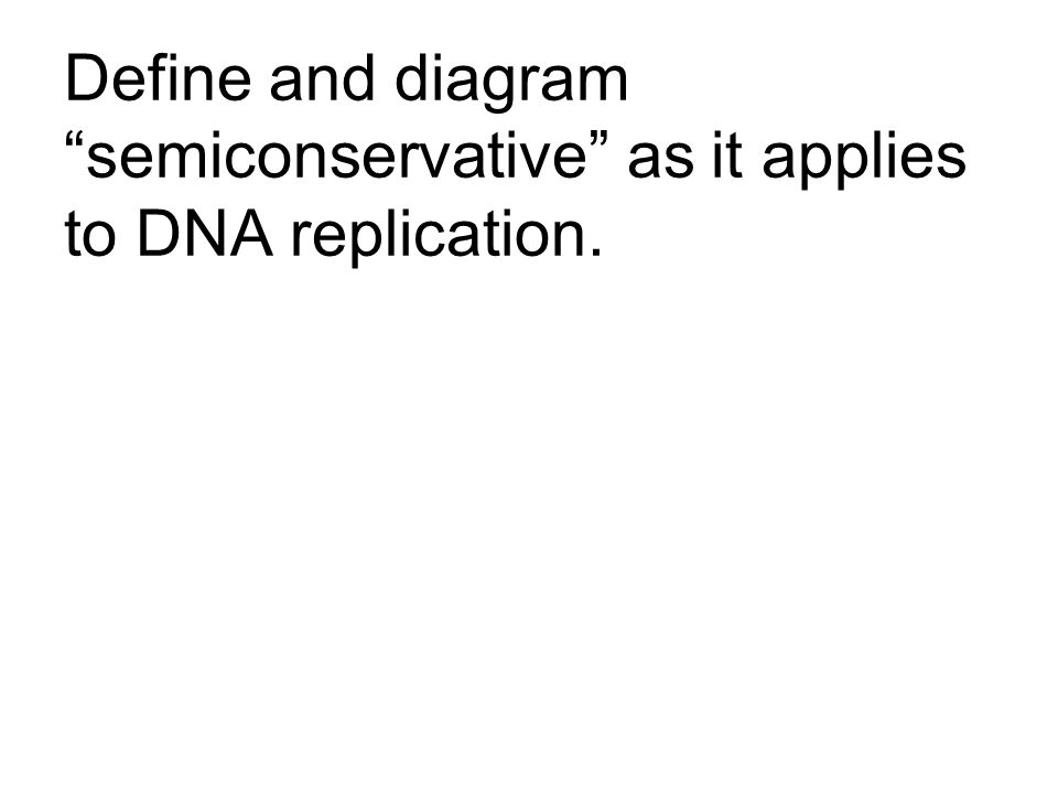 Define and diagram semiconservative as it applies to DNA replication.