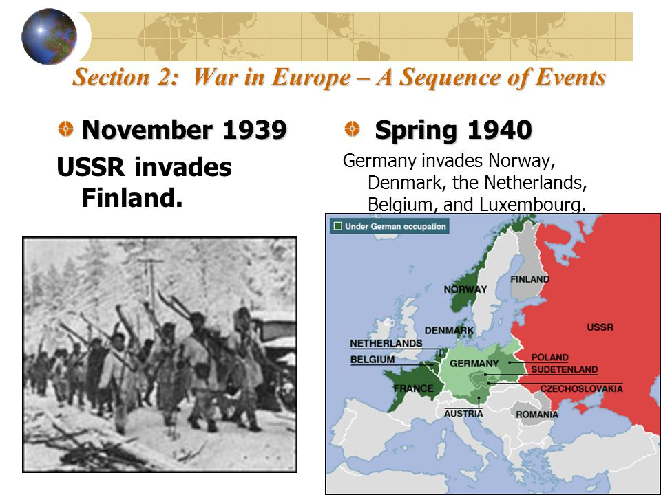 Section 2: War in Europe – A Sequence of Events