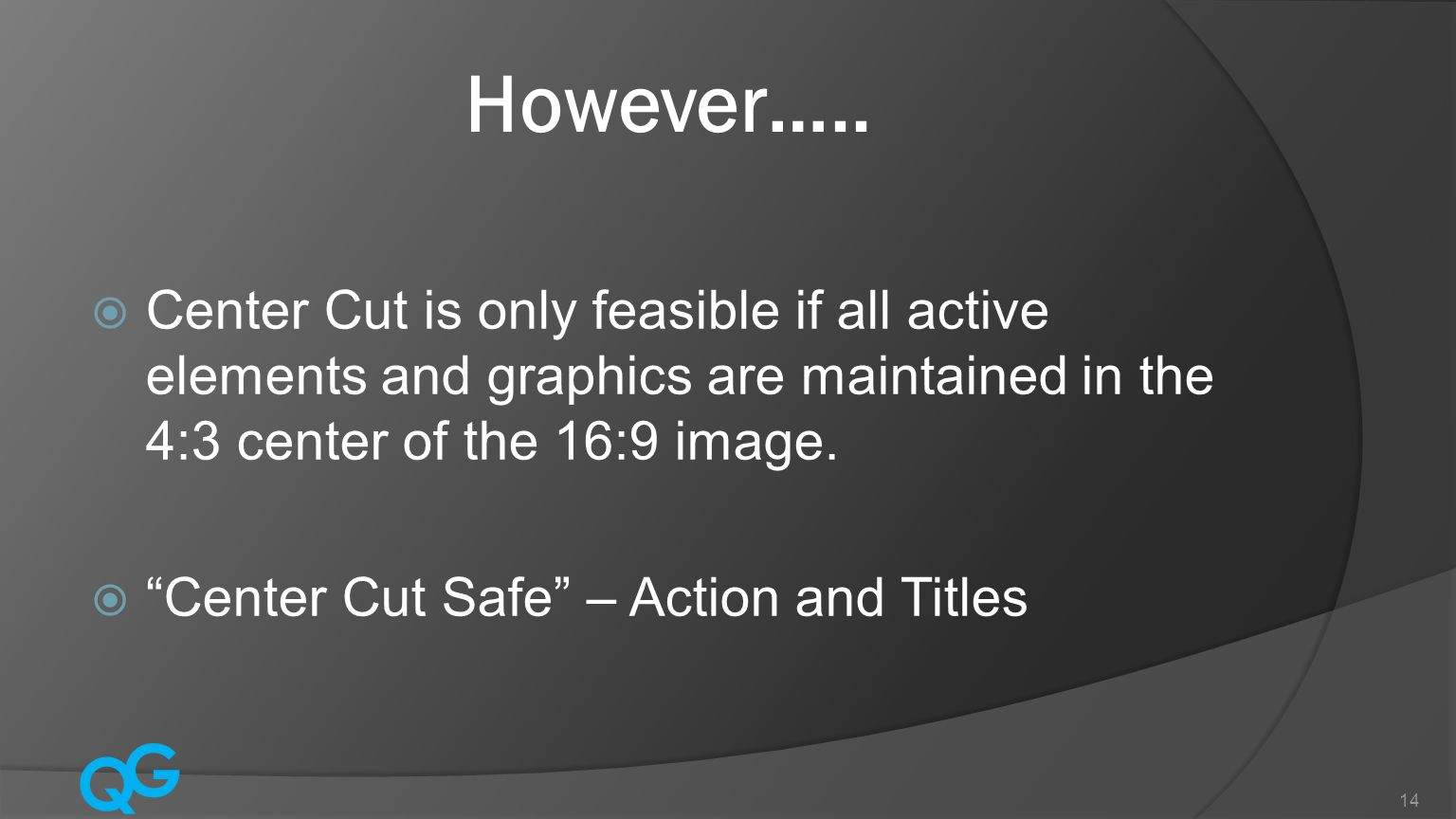However….. Center Cut is only feasible if all active elements and graphics are maintained in the 4:3 center of the 16:9 image.