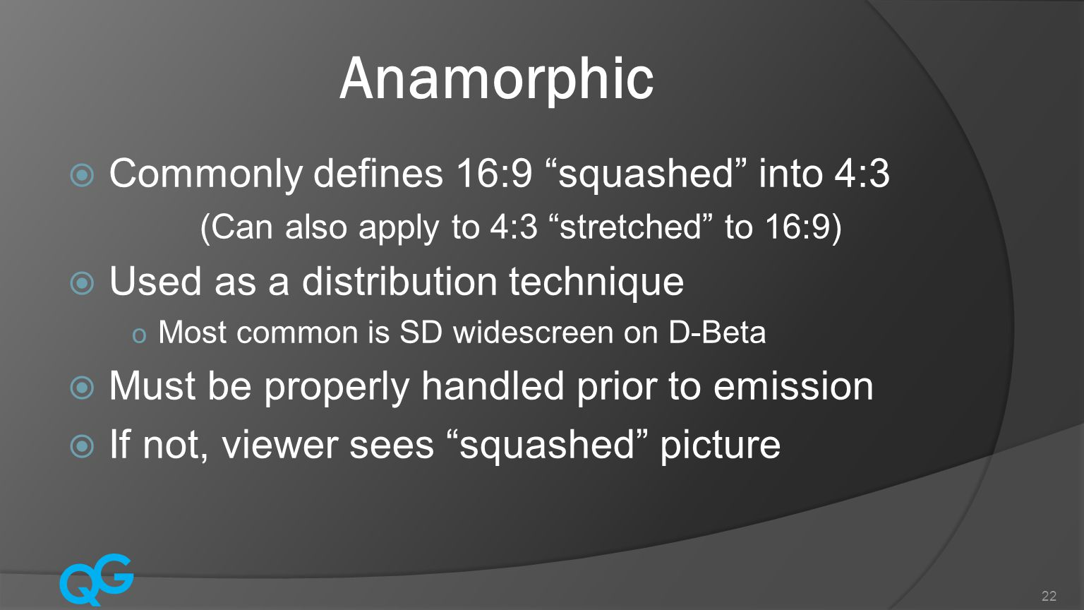 Anamorphic Commonly defines 16:9 squashed into 4:3