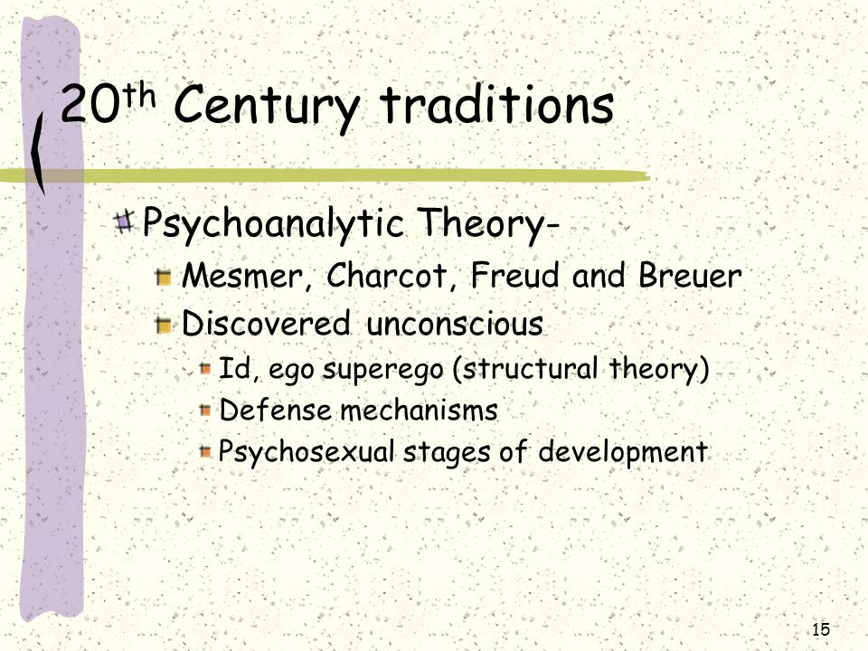20th Century traditions Psychoanalytic Theory-