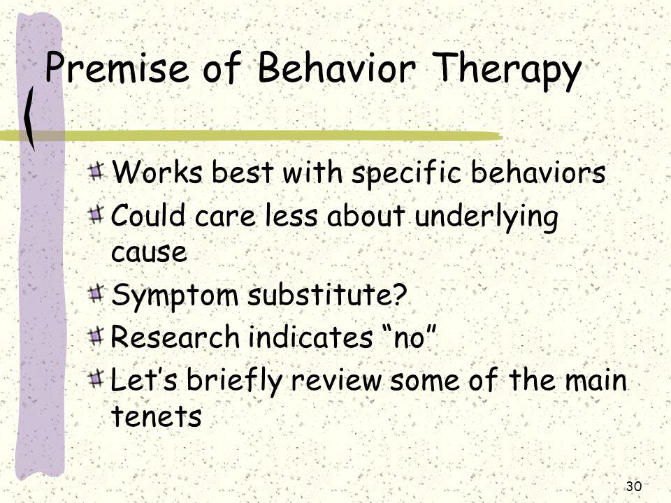 Premise of Behavior Therapy