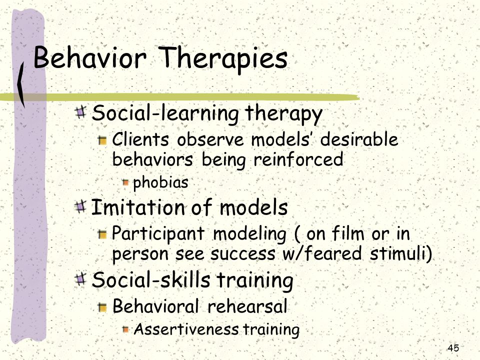 Behavior Therapies Social-learning therapy Imitation of models