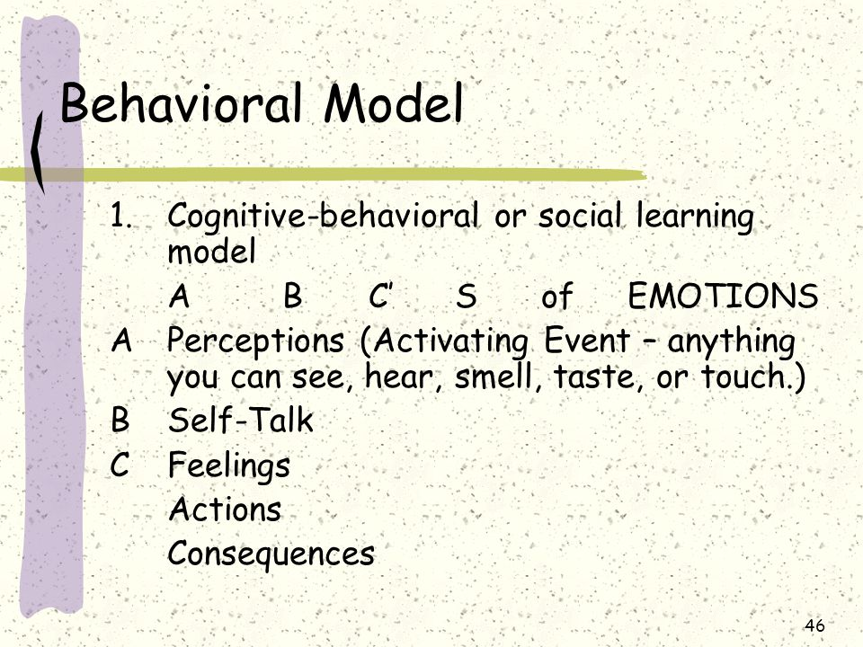 Behavioral Model Cognitive-behavioral or social learning model