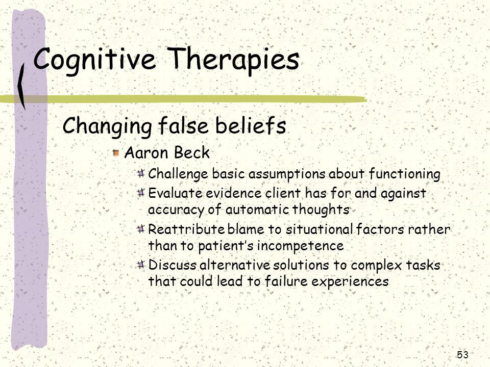 Cognitive Therapies Changing false beliefs Aaron Beck