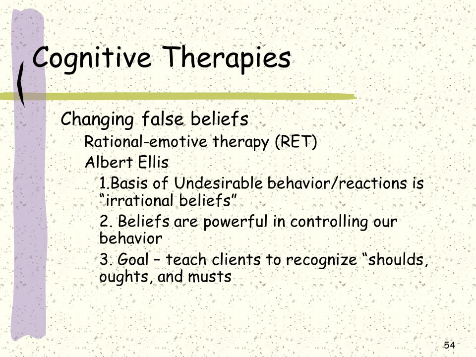 Cognitive Therapies Changing false beliefs
