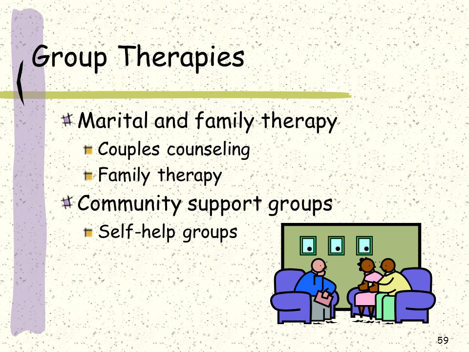 Group Therapies Marital and family therapy Community support groups