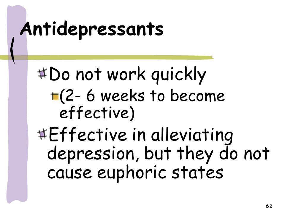 Antidepressants Do not work quickly