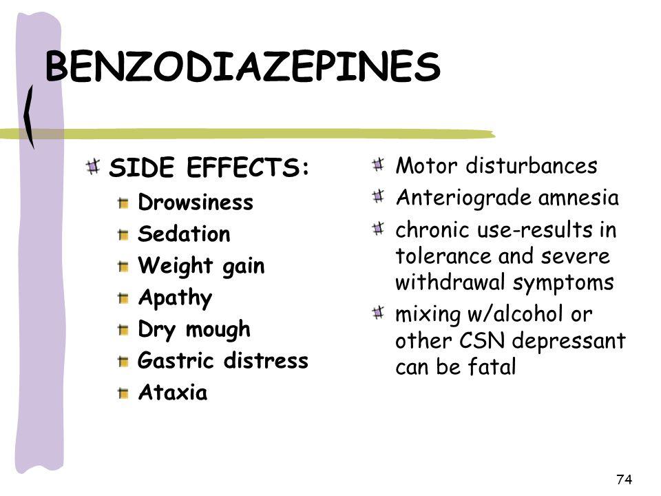 BENZODIAZEPINES SIDE EFFECTS: Motor disturbances Anteriograde amnesia