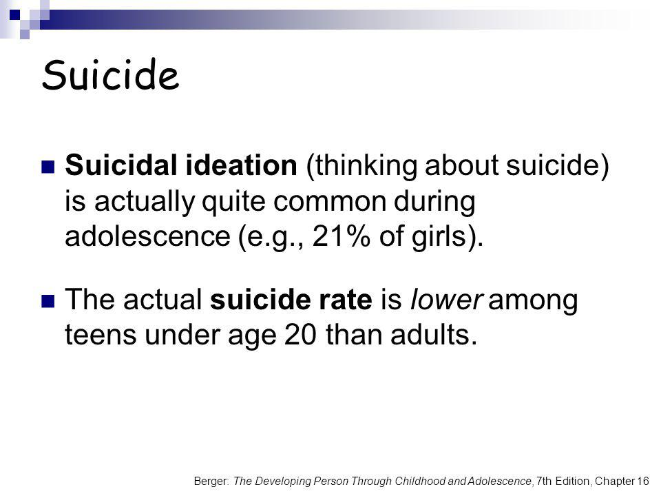 Suicide Suicidal ideation (thinking about suicide) is actually quite common during adolescence (e.g., 21% of girls).