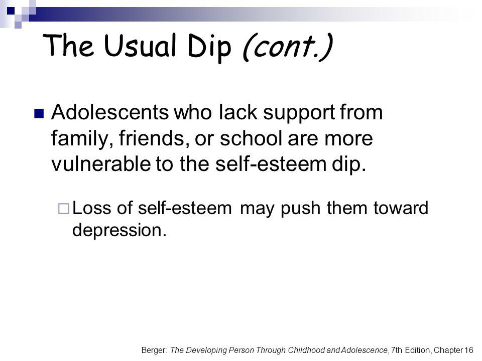 The Usual Dip (cont.) Adolescents who lack support from family, friends, or school are more vulnerable to the self-esteem dip.
