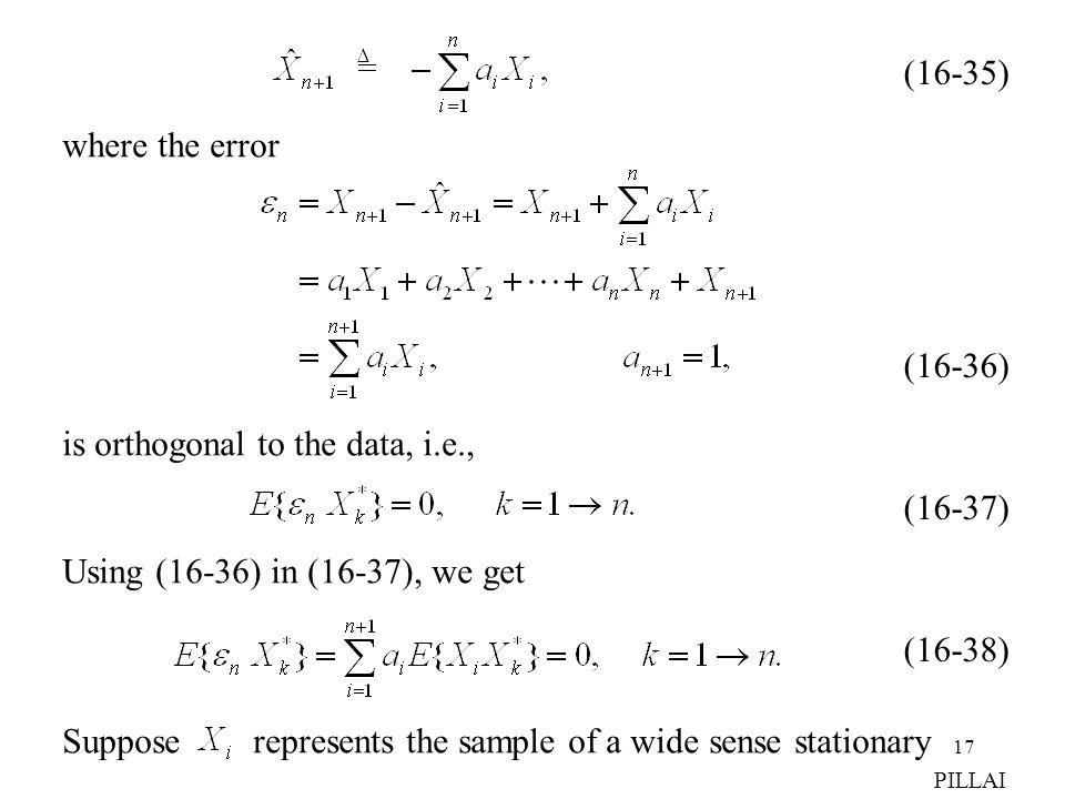 is orthogonal to the data, i.e.,