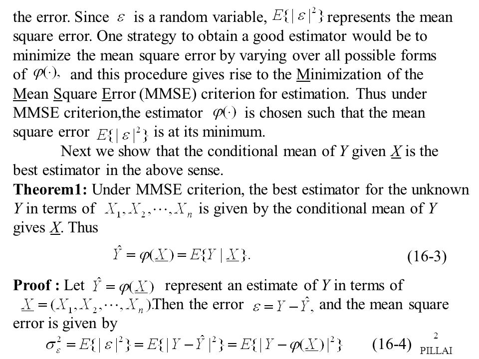 the error. Since is a random variable, represents the mean