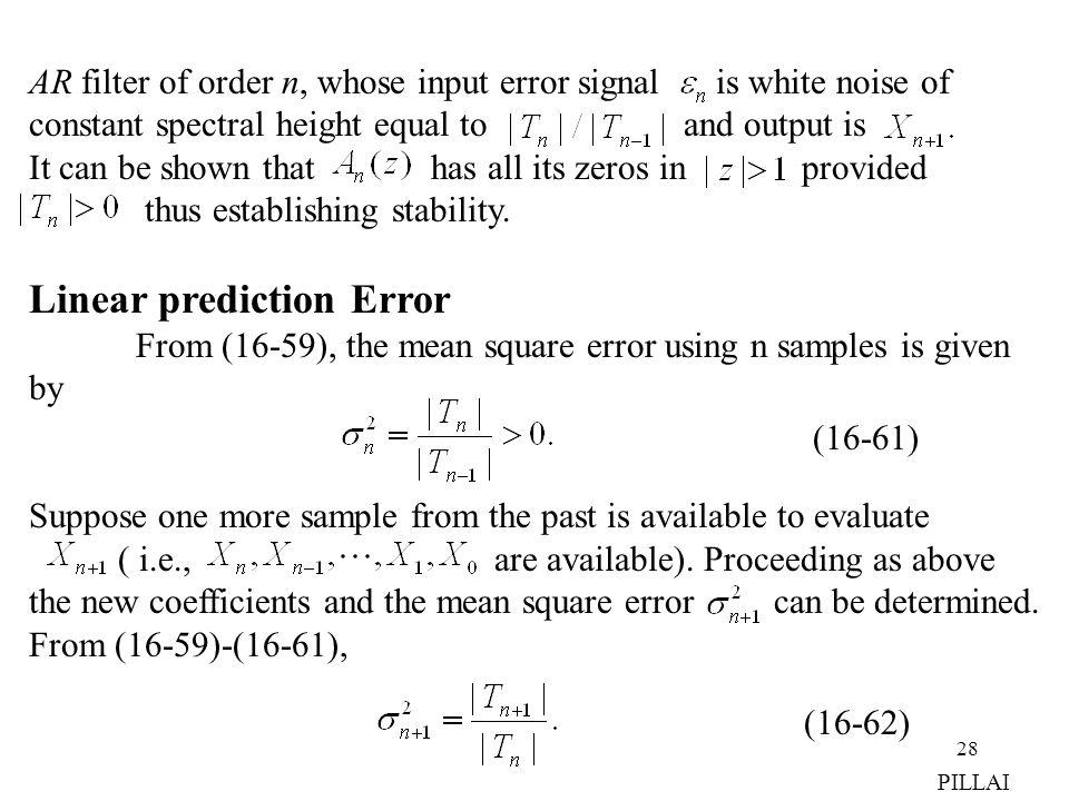 Linear prediction Error