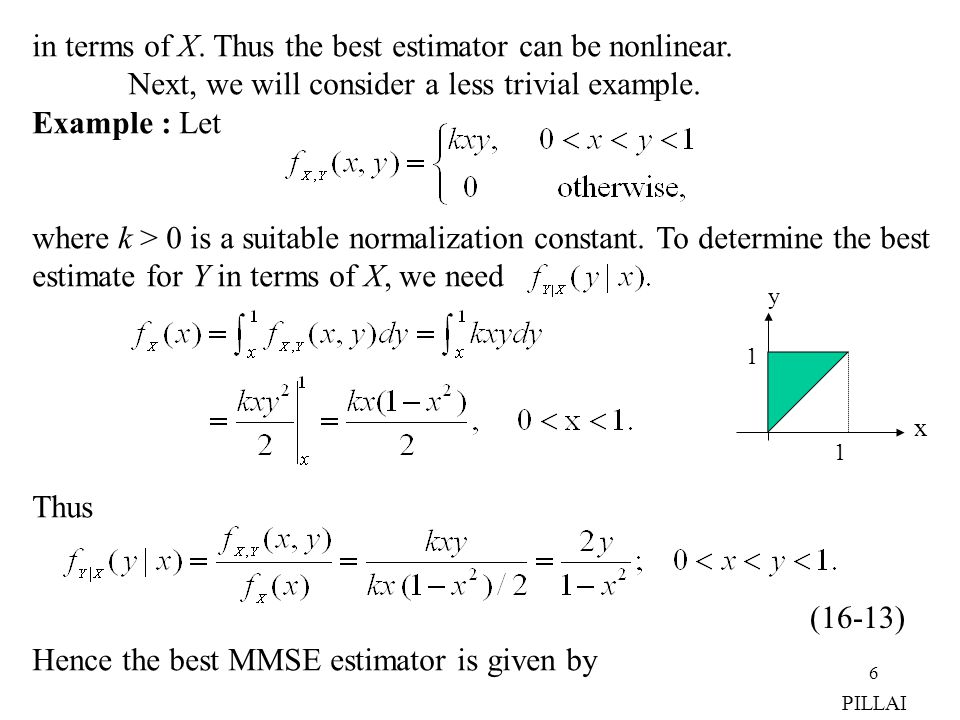 in terms of X. Thus the best estimator can be nonlinear.