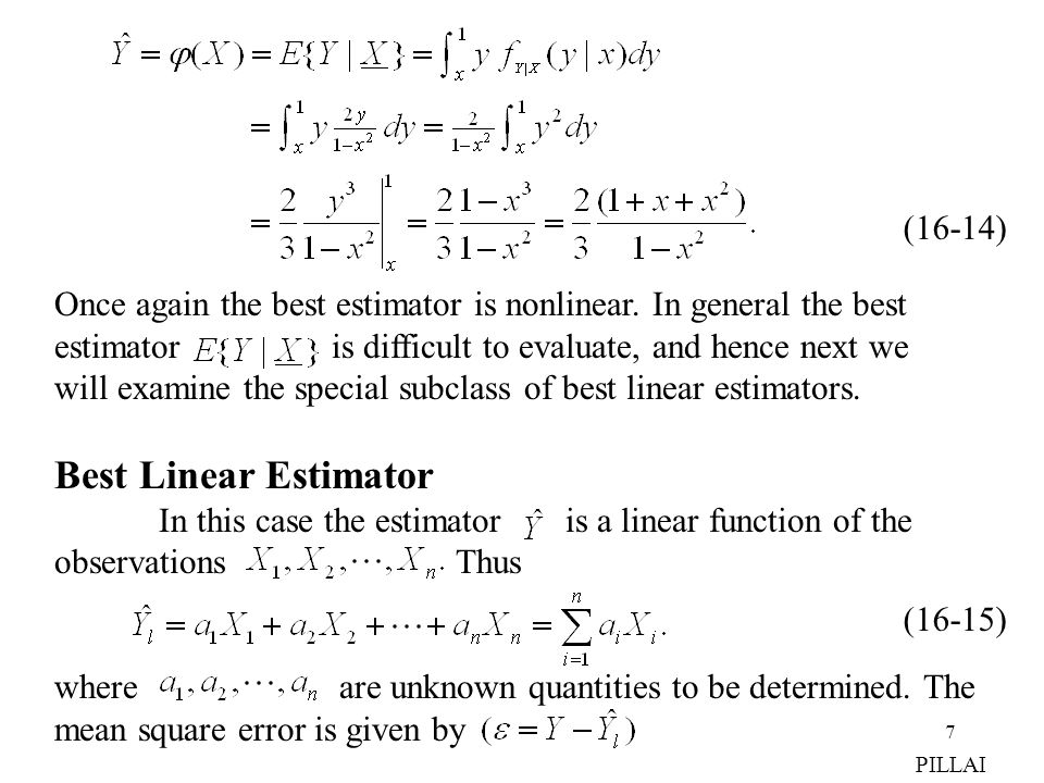 Once again the best estimator is nonlinear. In general the best