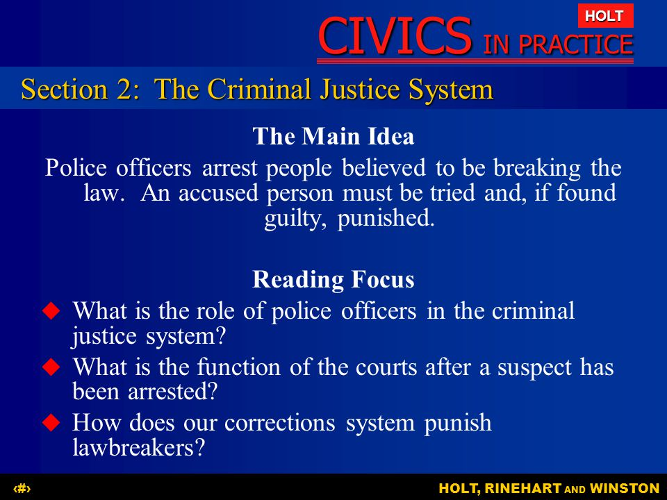 Section 2: The Criminal Justice System