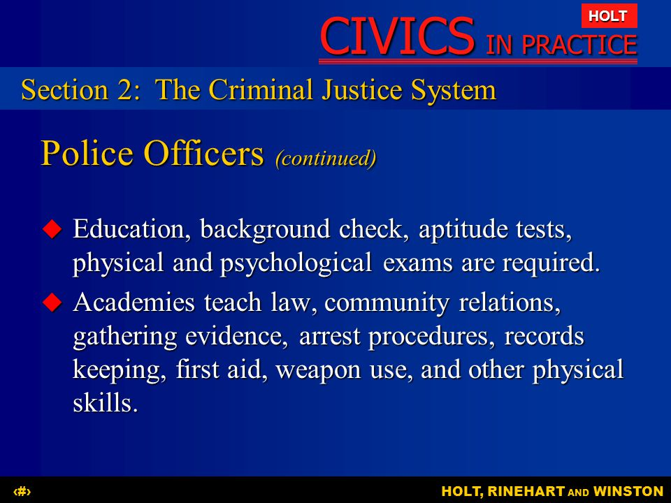 Police Officers (continued)