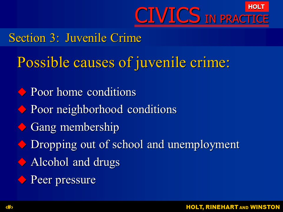 Possible causes of juvenile crime:
