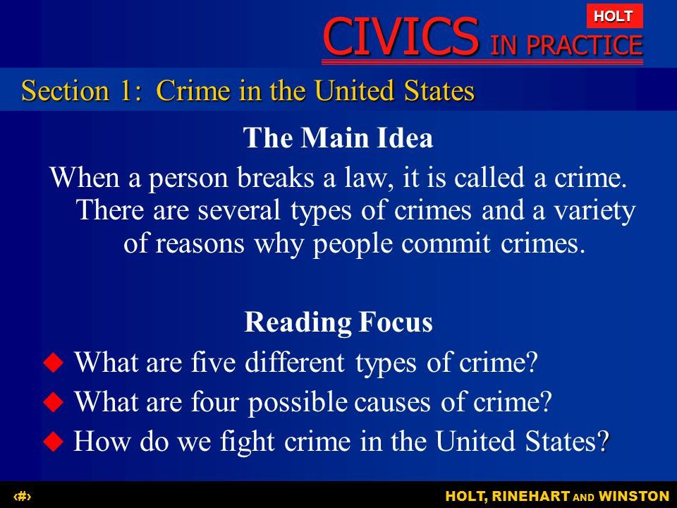 Section 1: Crime in the United States
