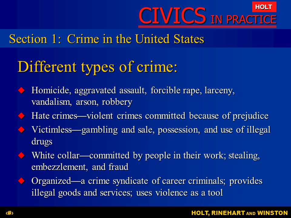 Different types of crime: