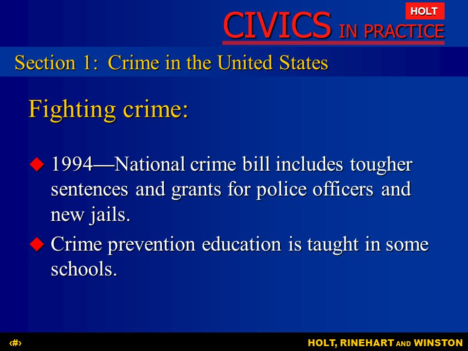 Fighting crime: Section 1: Crime in the United States