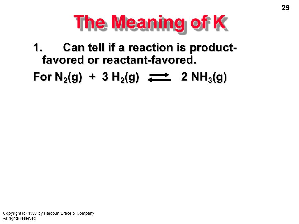 The Meaning of K 1. Can tell if a reaction is product-favored or reactant-favored.