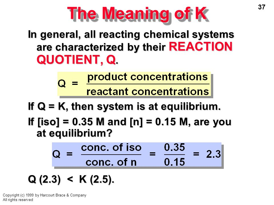 The Meaning of K In general, all reacting chemical systems are characterized by their REACTION QUOTIENT, Q.