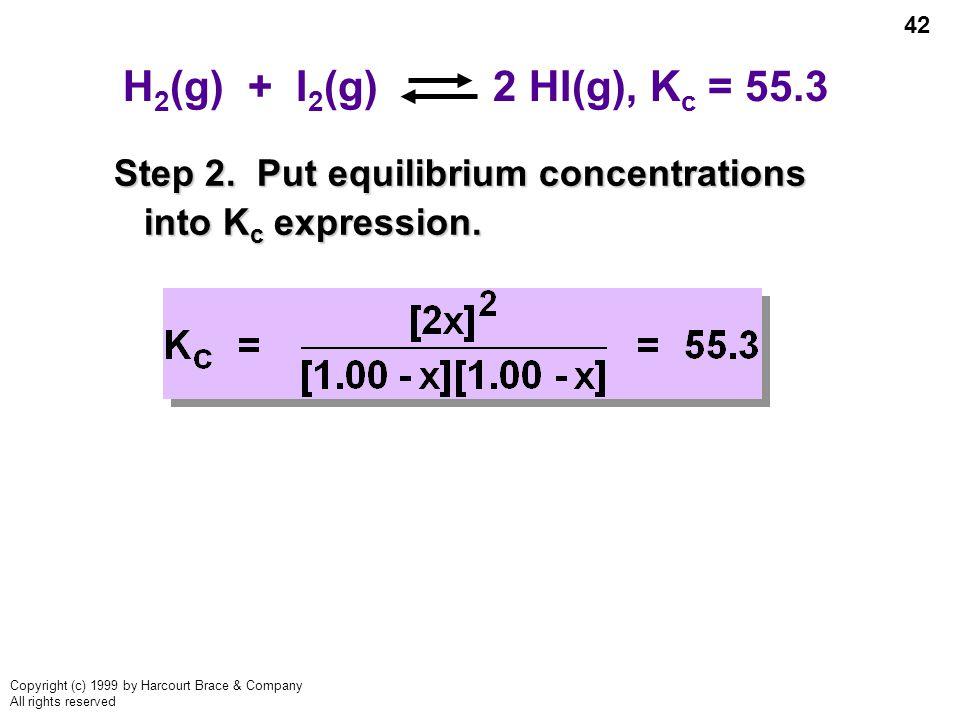 H2(g) + I2(g) 2 HI(g), Kc = 55.3 Step 2.